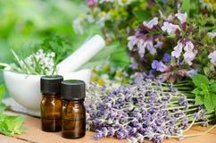 Aceites esenciales con las flores herbarias Imagen de archivo libre de regalías