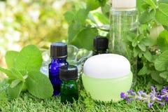 Aceites esenciales y cosméticos naturales fotos de archivo libres de regalías