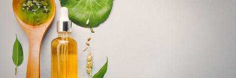 Aceites homeopáticos, suplementos dietéticos para la salud intestinal, cuidado de piel imagenes de archivo