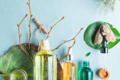 Aceites homeopáticos, suplementos dietéticos para los cosméticos naturales de la salud intestinal, aceites para el cuidado de pie foto de archivo libre de regalías