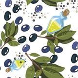 Aceitunas con la rama de olivo y el aceite de oliva aislados en el fon blanco Inconsútil, sistema, mano patern dibujada en el art Foto de archivo libre de regalías