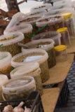 Aceitunas mediterráneas, diversos tipos, en salmuera natural en cubos grandes fotografía de archivo libre de regalías
