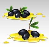 Aceitunas negras en el aceite Fotos de archivo libres de regalías