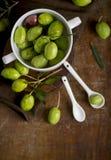 Aceitunas verdes, rama de olivo y aceite de oliva en un tablero de madera oscuro fotos de archivo libres de regalías
