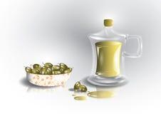 Aceitunas verdes y botella de aceite de oliva Fotos de archivo