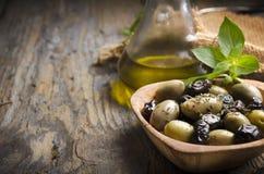Aceitunas y aceite de oliva Imagen de archivo