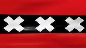 Acenar a bandeira da cidade de Amsterdão, apronta-se para o laço sem emenda ilustração royalty free