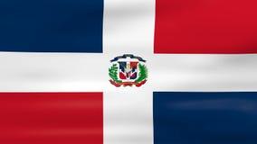 Acenar a bandeira da República Dominicana, apronta-se para o laço sem emenda ilustração royalty free
