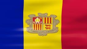 Acenar a bandeira de Andorra, apronta-se para o laço sem emenda ilustração royalty free