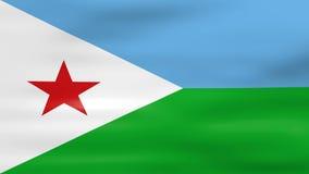 Acenar a bandeira de Jibuti, apronta-se para o laço sem emenda ilustração do vetor