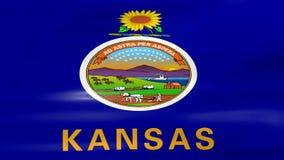 Acenar a bandeira de Kansas, apronta-se para o laço sem emenda ilustração do vetor