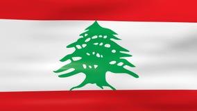Acenar a bandeira de Líbano, apronta-se para o laço sem emenda ilustração stock