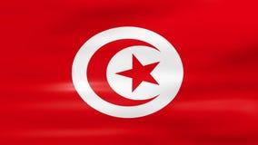Acenar a bandeira de Tunísia, apronta-se para o laço sem emenda ilustração royalty free