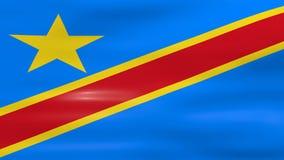 Acenar a bandeira Democrática da República Democrática do Congo, apronta-se para o laço sem emenda ilustração royalty free