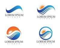 Acene e logotipo da praia do sol e ícones app do molde dos símbolos ilustração stock