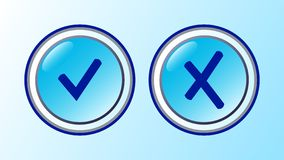 Aceptable y cancele los iconos Foto de archivo