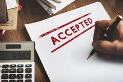 Aceptado apruebe el concepto certificado autorizado de la decisión fotografía de archivo