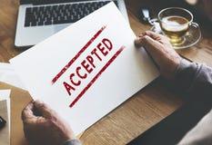 Aceptado apruebe el concepto certificado autorizado de la decisión fotografía de archivo libre de regalías
