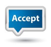Acepte el botón azul primero de la bandera Fotografía de archivo