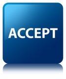 Acepte el botón cuadrado azul Imagenes de archivo