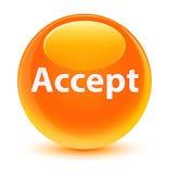 Acepte el botón redondo anaranjado vidrioso Foto de archivo libre de regalías