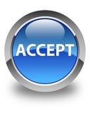 Acepte el botón redondo azul brillante Imagen de archivo