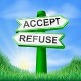 Acepte o rechace firman adentro el campo Imágenes de archivo libres de regalías