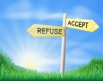 Acepte o rechace la muestra de la decisión Foto de archivo libre de regalías