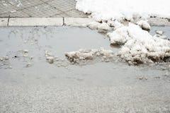 Acera con el paso de peatones cubierto con el agujero derretido del pote de la nieve y del agua en el invierno imagenes de archivo