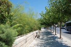 Acera con los árboles verdes y calle en la ciudad de vacaciones de Heraklion, Creta fotos de archivo