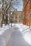 Acera de la ciudad del invierno Fotografía de archivo