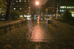 Acera mojada de New York City en la noche con las luces, Nueva York Foto de archivo
