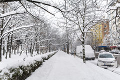Acera y calle sin limpiar con nieve en Sofía Foto de archivo
