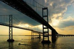 Acercamiento de los puentes de la bahía de Chesapeake Fotos de archivo libres de regalías