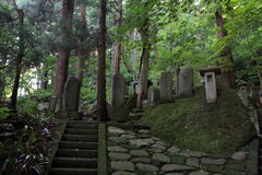 Acercamiento del ji Yamadera de Risshaku en Yamagata imagen de archivo
