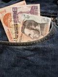 acercamiento para afrontar el bolsillo de vaqueros en azul con los billetes de banco Honduran fotografía de archivo