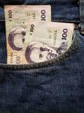 acercamiento para afrontar el bolsillo de vaqueros en azul con los billetes de banco uruguayos foto de archivo