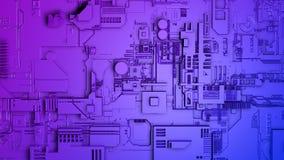 Acercamiento a una pared de una nave espacial con la estructura metálica compleja en azul y púrpura foto de archivo libre de regalías