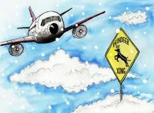 Acercamientos comerciales de un avión de pasajeros stock de ilustración
