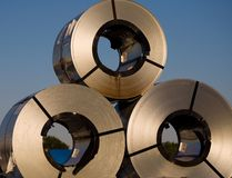 Acero, bobinas Imagenes de archivo