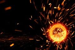 Acero del corte de la flama de las chispas Fotografía de archivo