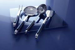 Acero inoxidable de los utensilios de la cocina de los utensilios de cocina Imágenes de archivo libres de regalías