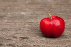 Acerola cherry of thailand on wood. Select focus, Barbados cherr. Y, Malpighia emarginata, high vitamin Stock Image
