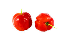Acerola. Isolated 2 pcs. of acerola on white background Stock Photo