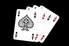 Aces костюмы играя карточек Стоковые Изображения