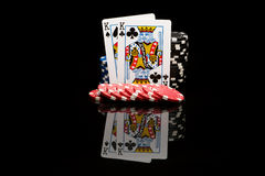aces покер 2 карточек предпосылки черный Стоковая Фотография RF
