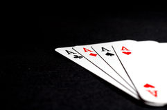 Aces. Four aces on black background Royalty Free Stock Image