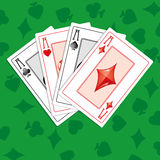 Aces. Background with four aces on green  greencloth,  illustration additional Royalty Free Stock Photo