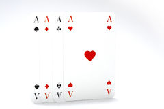 Aces. 4 acces and a white background Stock Photo