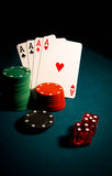 Aces. Photo gambling chips on the dark Royalty Free Stock Photography